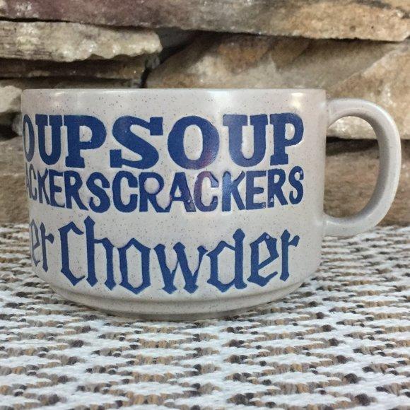 Vintage Soup Crackers Chowder Stoneware Mug Retro